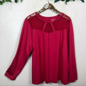 Lane Bryant • Long Sleeve Top With Mesh Neckline